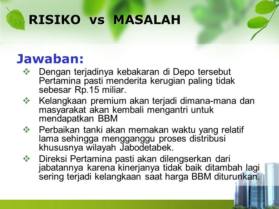 RISIKO vs MASALAH Jawaban:  Dengan terjadinya kebakaran di Depo tersebut Pertamina pasti menderita kerugian paling tidak sebesar Rp.15 miliar.  Kela