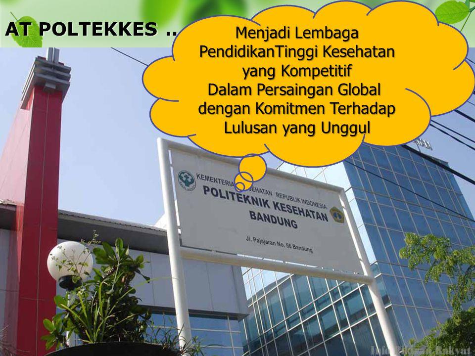 AT POLTEKKES …… Menjadi Lembaga PendidikanTinggi Kesehatan yang Kompetitif Dalam Persaingan Global dengan Komitmen Terhadap Lulusan yang Unggul
