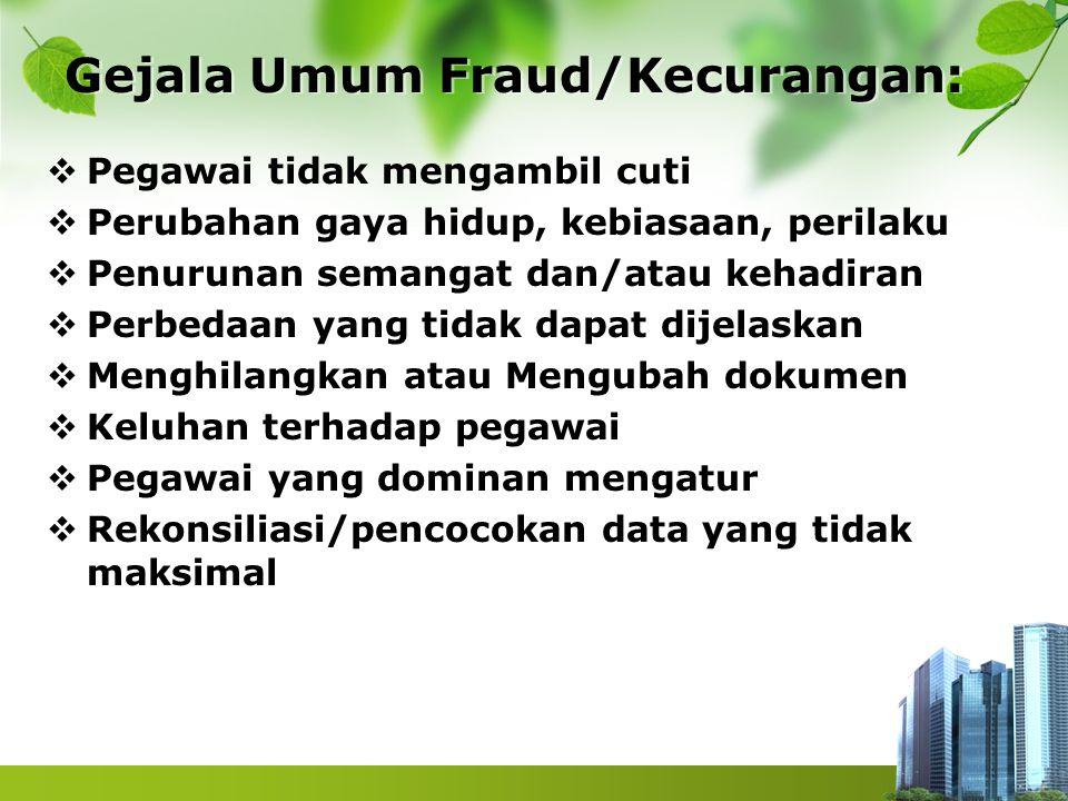 Gejala Umum Fraud/Kecurangan:  Pegawai tidak mengambil cuti  Perubahan gaya hidup, kebiasaan, perilaku  Penurunan semangat dan/atau kehadiran  Per