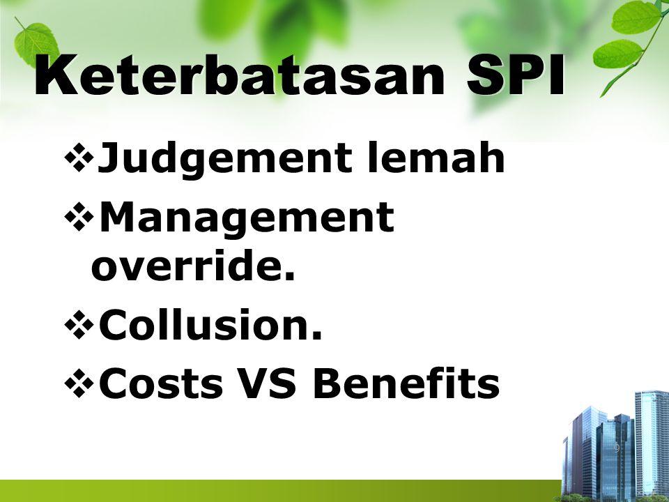 Keterbatasan SPI  Judgement lemah  Management override.  Collusion.  Costs VS Benefits 9