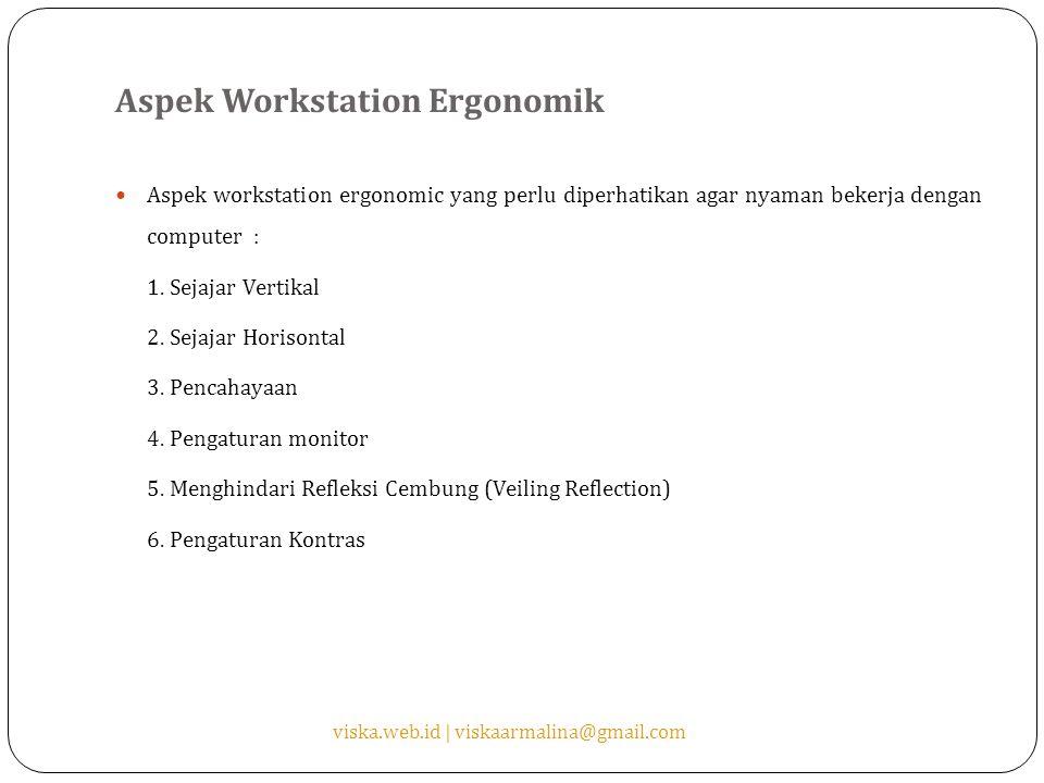 Aspek Workstation Ergonomik Aspek workstation ergonomic yang perlu diperhatikan agar nyaman bekerja dengan computer : 1. Sejajar Vertikal 2. Sejajar H