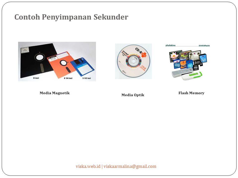 Contoh Penyimpanan Sekunder viska.web.id | viskaarmalina@gmail.com Media Magnetik Media Optik Flash Memory