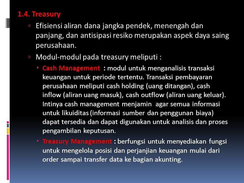 1.4. Treasury  Efisiensi aliran dana jangka pendek, menengah dan panjang, dan antisipasi resiko merupakan aspek daya saing perusahaan.  Modul-modul