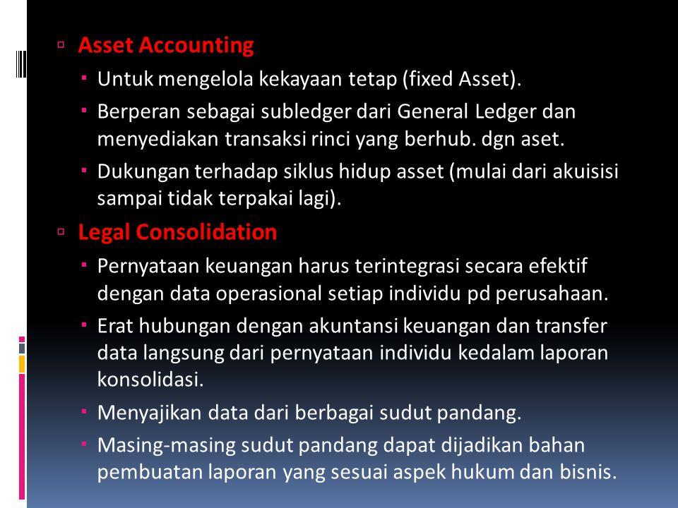  Asset Accounting  Untuk mengelola kekayaan tetap (fixed Asset).  Berperan sebagai subledger dari General Ledger dan menyediakan transaksi rinci ya