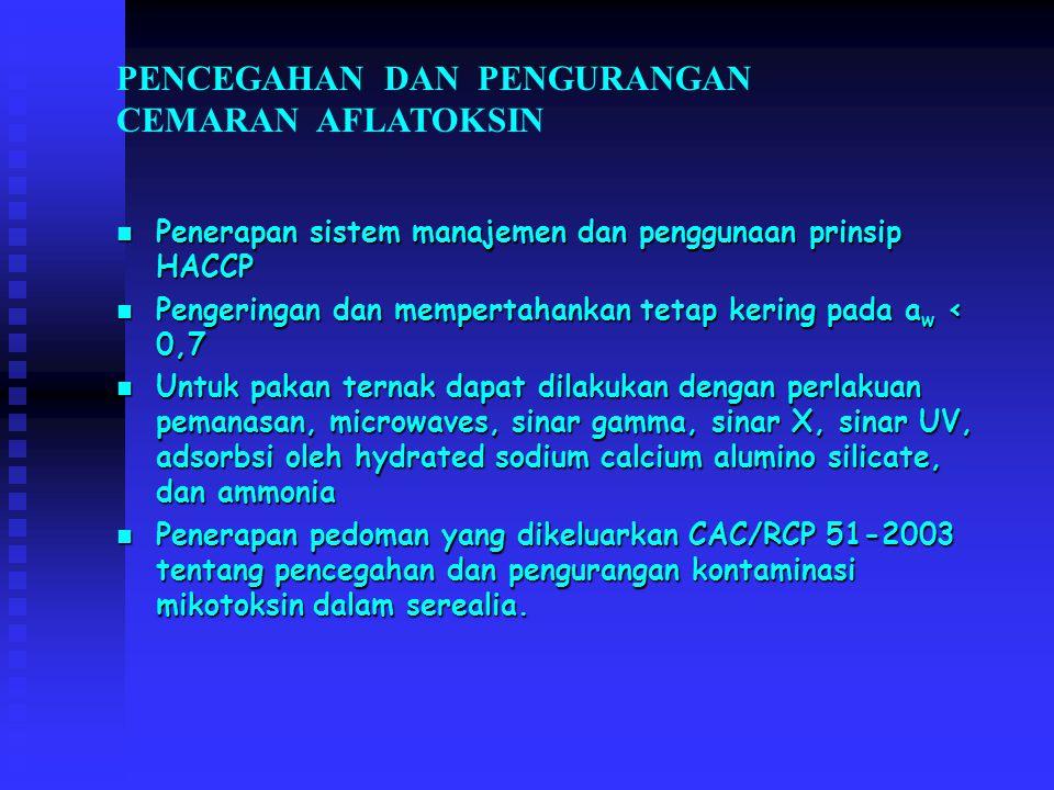 PENCEGAHAN DAN PENGURANGAN CEMARAN AFLATOKSIN Penerapan sistem manajemen dan penggunaan prinsip HACCP Penerapan sistem manajemen dan penggunaan prinsi