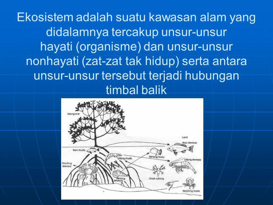 Ekosistem adalah suatu kawasan alam yang didalamnya tercakup unsur-unsur hayati (organisme) dan unsur-unsur nonhayati (zat-zat tak hidup) serta antara
