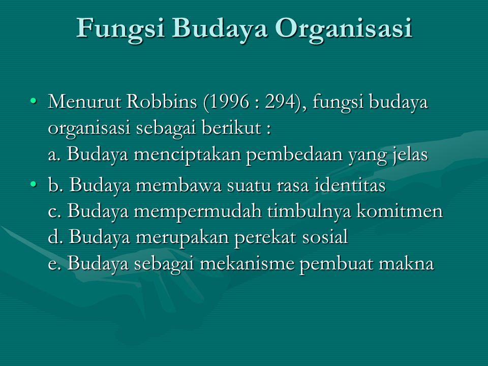 Fungsi Budaya Organisasi Menurut Robbins (1996 : 294), fungsi budaya organisasi sebagai berikut : a.