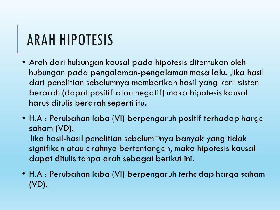 ARAH HIPOTESIS Arah dari hubungan kausal pada hipotesis ditentukan oleh hubungan pada pengalaman-pengalaman masa lalu. Jika hasil dari penelitian sebe