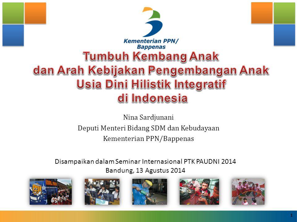 Nina Sardjunani Deputi Menteri Bidang SDM dan Kebudayaan Kementerian PPN/Bappenas Disampaikan dalam Seminar Internasional PTK PAUDNI 2014 Bandung, 13