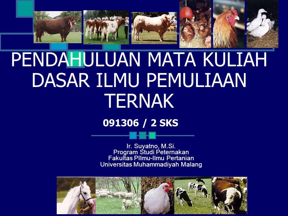 Tujuan 1.Tujuan program pemuliaan ternak. 2. Peranan genetika dalam pemuliaan ternak.