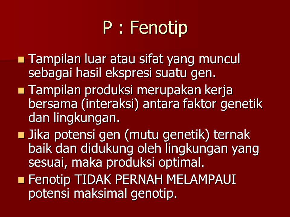 P : Fenotip Tampilan luar atau sifat yang muncul sebagai hasil ekspresi suatu gen. Tampilan luar atau sifat yang muncul sebagai hasil ekspresi suatu g