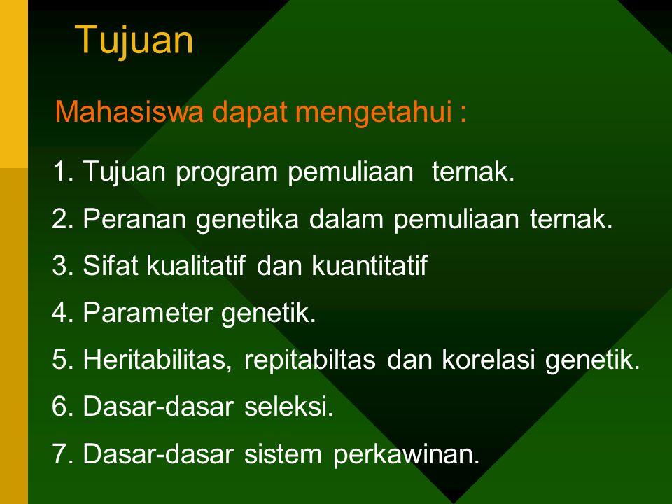 Tujuan 1. Tujuan program pemuliaan ternak. 2. Peranan genetika dalam pemuliaan ternak. 3. Sifat kualitatif dan kuantitatif 4. Parameter genetik. 5. He