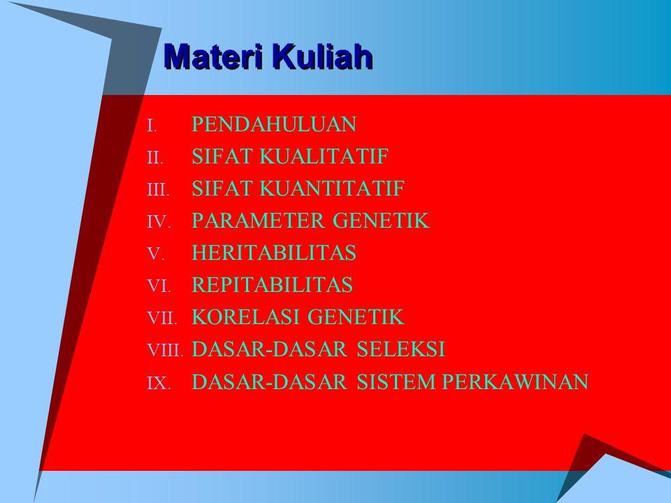 Materi Kuliah I. PENDAHULUAN II. SIFAT KUALITATIF III. SIFAT KUANTITATIF IV. PARAMETER GENETIK V. HERITABILITAS VI. REPITABILITAS VII. KORELASI GENETI