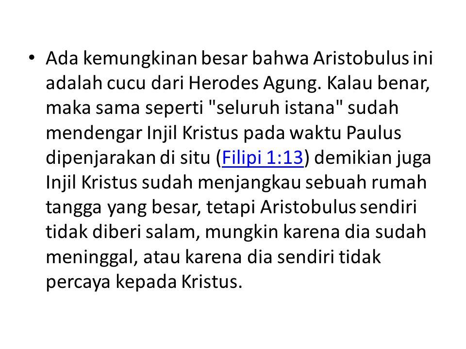 Ada kemungkinan besar bahwa Aristobulus ini adalah cucu dari Herodes Agung. Kalau benar, maka sama seperti