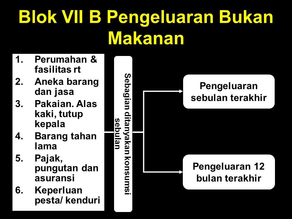 Blok VII B Pengeluaran Bukan Makanan 1.Perumahan & fasilitas rt 2.Aneka barang dan jasa 3.Pakaian.