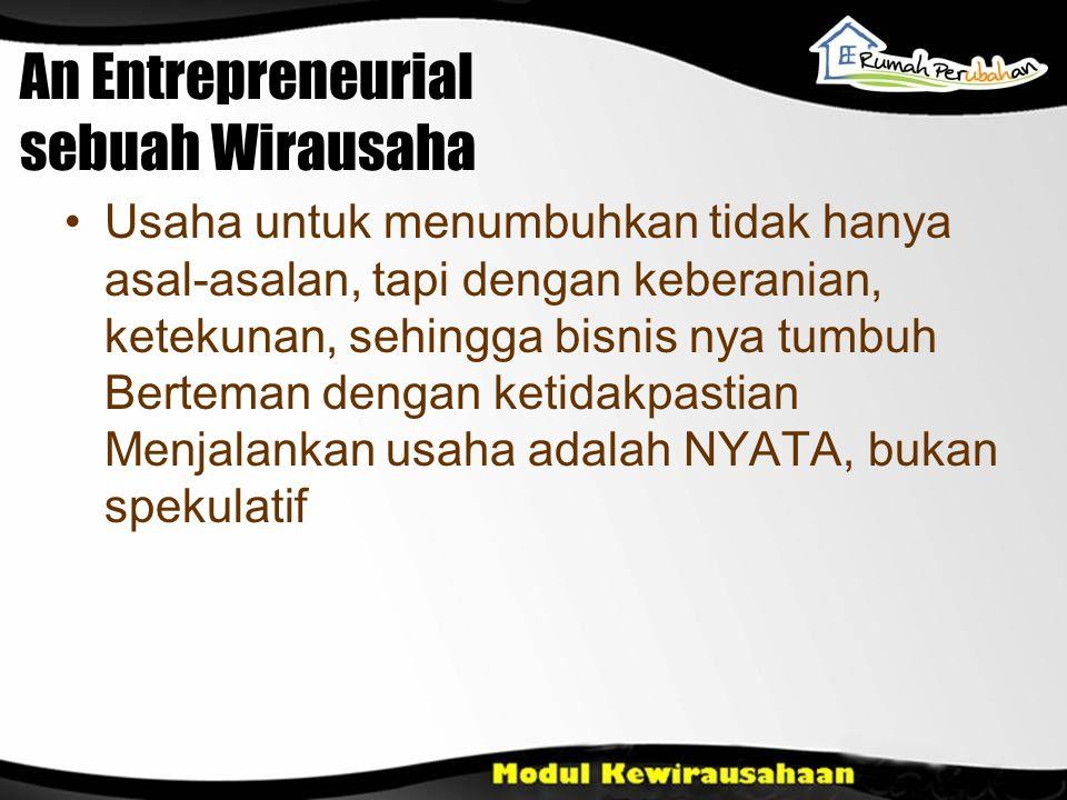 An Entrepreneurial sebuah Wirausaha Usaha untuk menumbuhkan tidak hanya asal-asalan, tapi dengan keberanian, ketekunan, sehingga bisnis nya tumbuh Ber