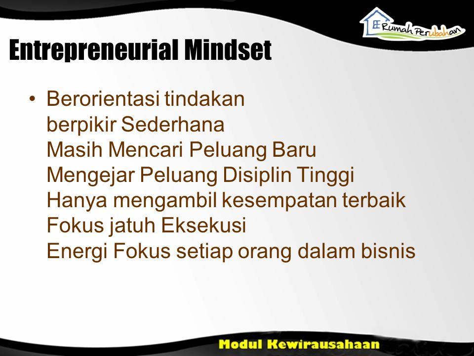 Entrepreneurial Mindset Berorientasi tindakan berpikir Sederhana Masih Mencari Peluang Baru Mengejar Peluang Disiplin Tinggi Hanya mengambil kesempata