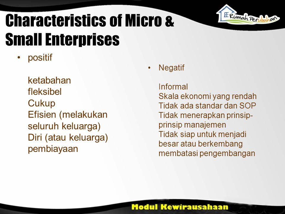 Characteristics of Micro & Small Enterprises positif ketabahan fleksibel Cukup Efisien (melakukan seluruh keluarga) Diri (atau keluarga) pembiayaan Ne