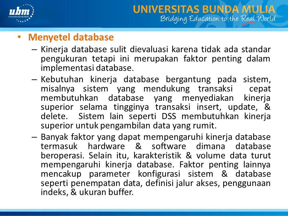 Menyetel database – Kinerja database sulit dievaluasi karena tidak ada standar pengukuran tetapi ini merupakan faktor penting dalam implementasi datab