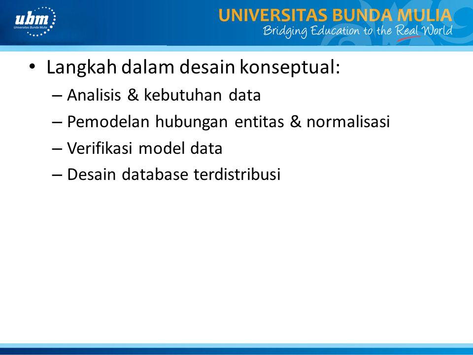 Langkah dalam desain konseptual: – Analisis & kebutuhan data – Pemodelan hubungan entitas & normalisasi – Verifikasi model data – Desain database terd