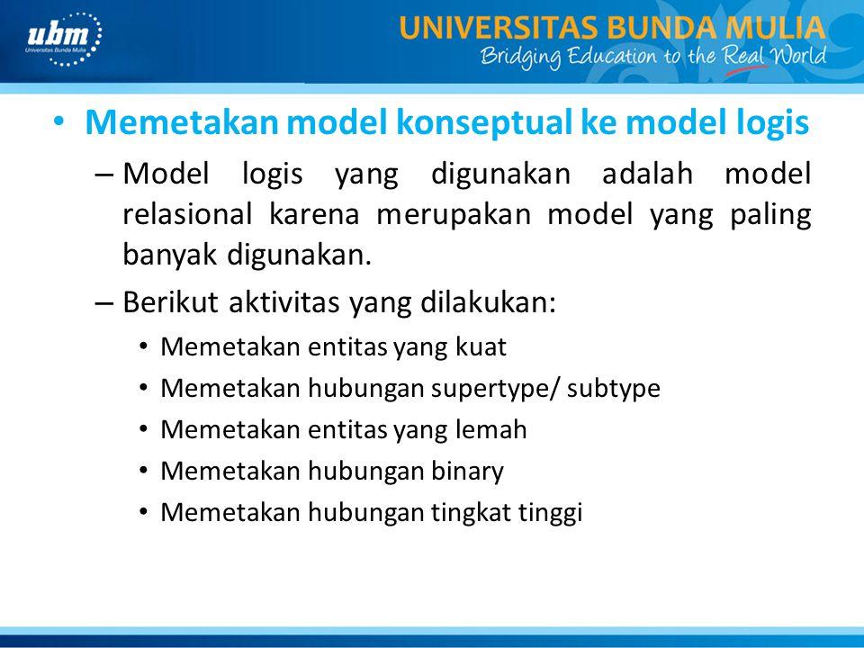 Memetakan model konseptual ke model logis – Model logis yang digunakan adalah model relasional karena merupakan model yang paling banyak digunakan. –