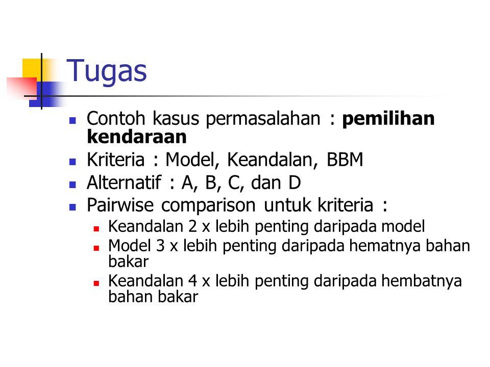Tugas Contoh kasus permasalahan : pemilihan kendaraan Kriteria : Model, Keandalan, BBM Alternatif : A, B, C, dan D Pairwise comparison untuk kriteria
