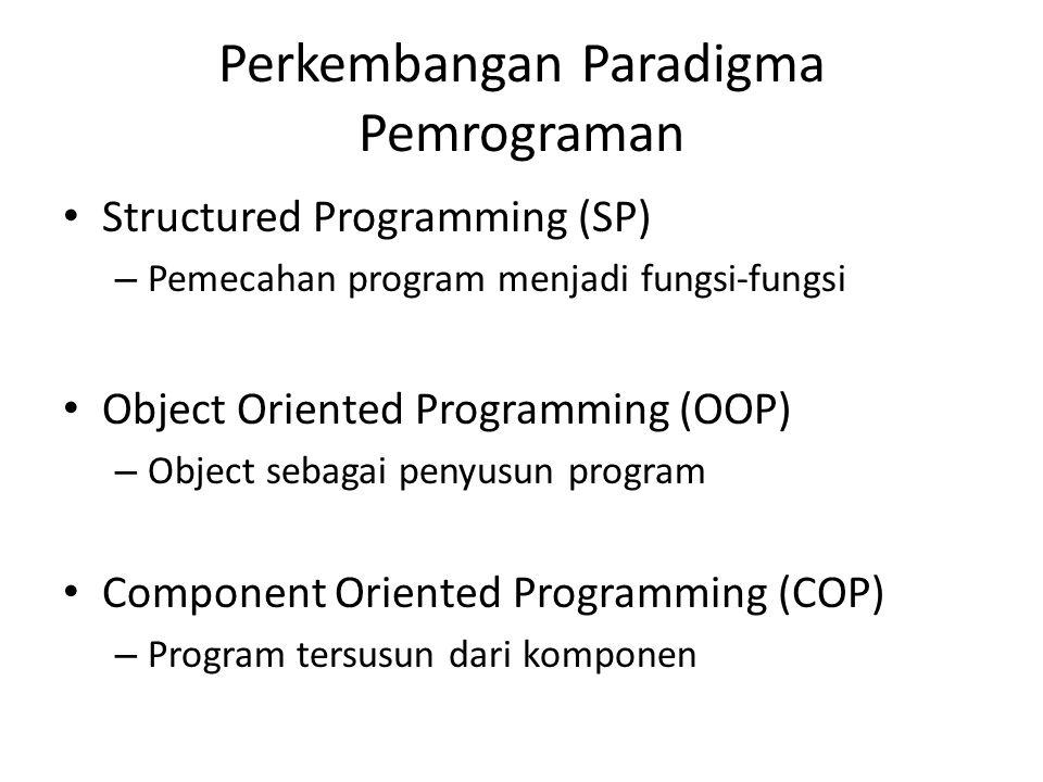 Perkembangan Paradigma Pemrograman Structured Programming (SP) – Pemecahan program menjadi fungsi-fungsi Object Oriented Programming (OOP) – Object se