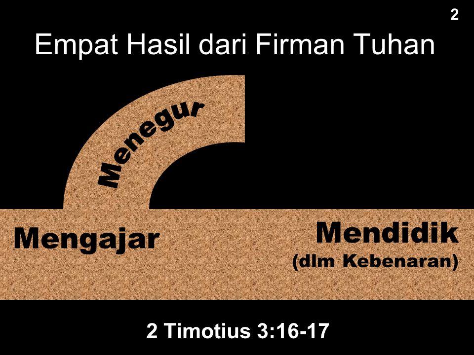Segala tulisan yang diilhamkan Allah memang bermanfaat untuk mengajar, untuk menyatakan kesalahan, untuk memperbaiki kelakuan dan untuk mendidik orang dalam kebenaran.