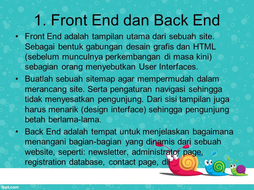 1.Front End dan Back End Front End adalah tampilan utama dari sebuah site.