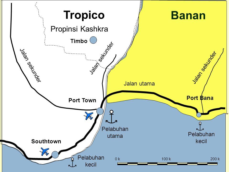 2 Mod 7 Ses 4 Tropico Banan Port Town Pelabuhan utama Pelabuhan kecil Jalan utama Jalan sekunder Port Bana Southtown 0 k100 k200 k Propinsi Kashkra Timbo