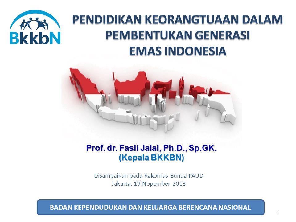 1 Disampaikan pada Rakornas Bunda PAUD Jakarta, 19 Nopember 2013 Prof. dr. Fasli Jalal, Ph.D., Sp.GK. (Kepala BKKBN) BADAN KEPENDUDUKAN DAN KELUARGA B
