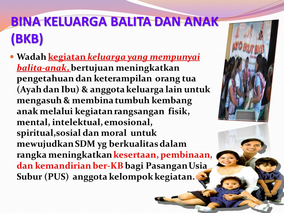 BINA KELUARGA BALITA DAN ANAK (BKB) Wadah kegiatan keluarga yang mempunyai balita-anak, bertujuan meningkatkan pengetahuan dan keterampilan orang tua