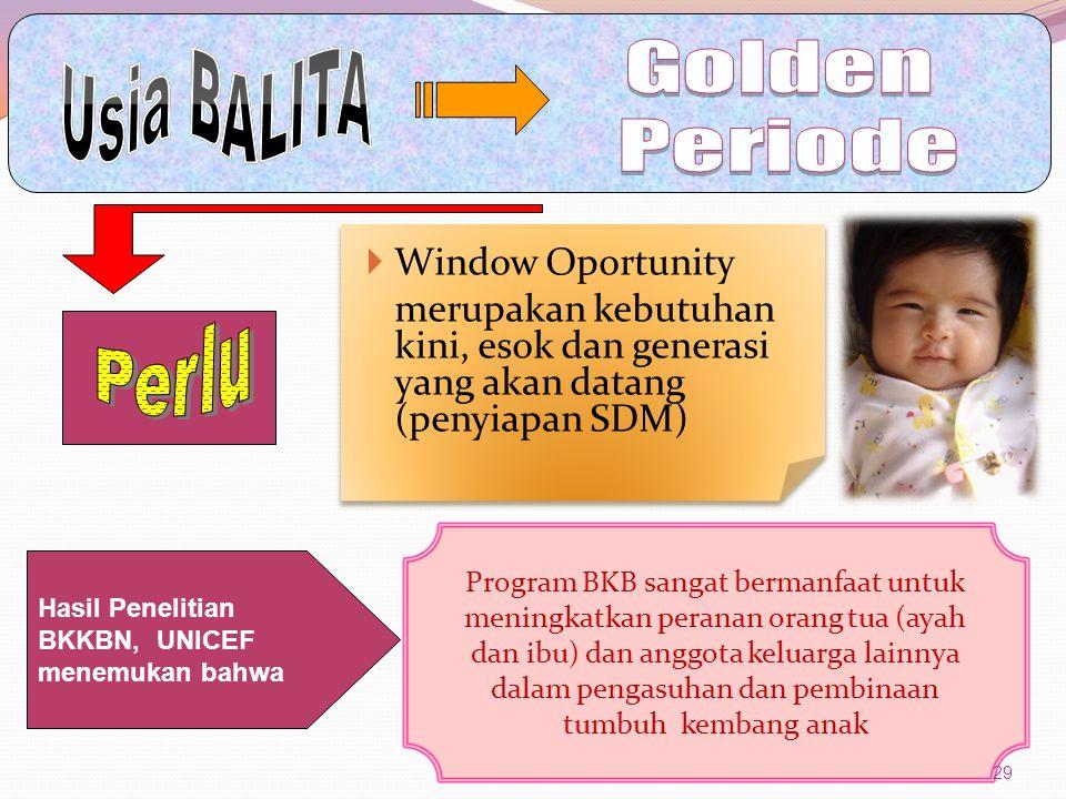  Window Oportunity merupakan kebutuhan kini, esok dan generasi yang akan datang (penyiapan SDM) Program BKB sangat bermanfaat untuk meningkatkan pera