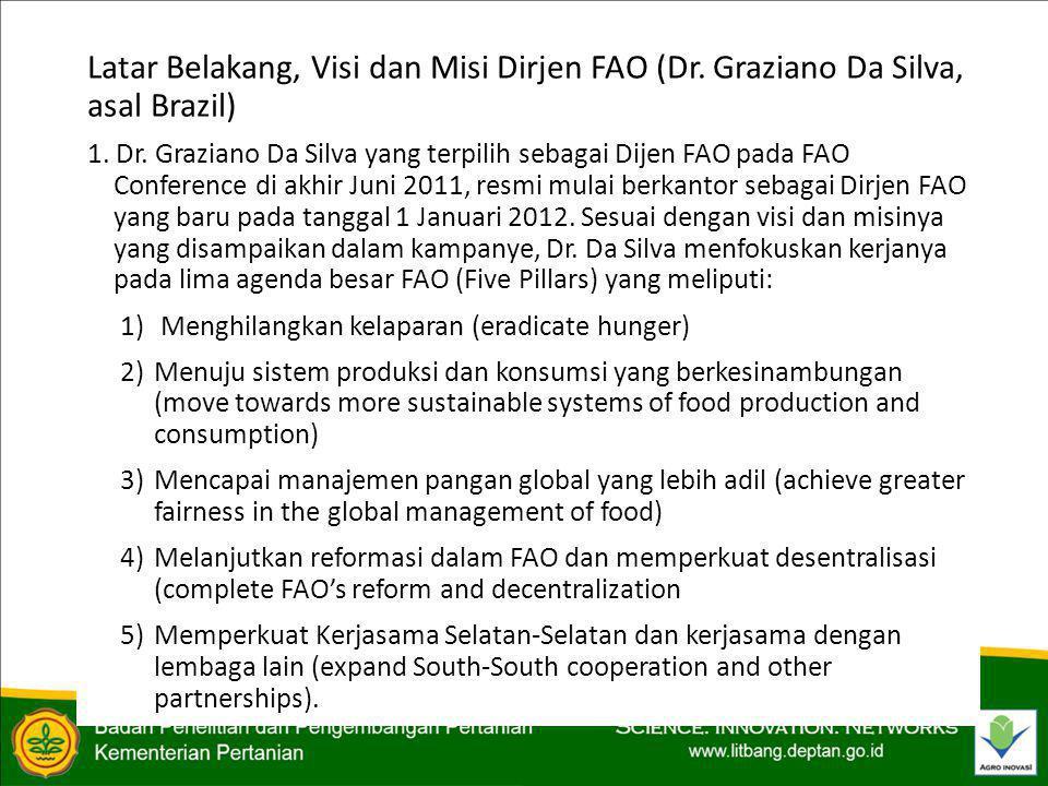 PERKEMBANGAN TERKINI TERKAIT DENGAN FAO 6)Indonesia dalam hal ini juga sepakat dengan pandangan kelompok negara G77 mengingat pentingnya program-program FAO ke depan yang diorientasikan pada pencapaian Outcome.