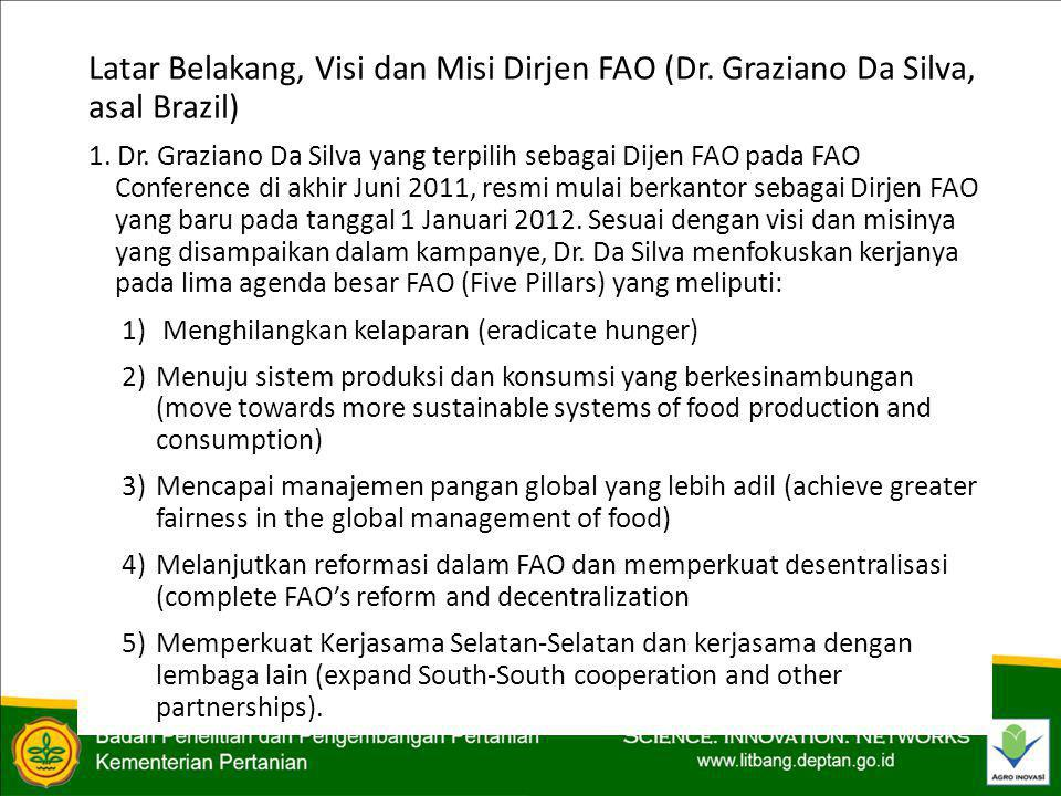 Latar Belakang, Visi dan Misi Dirjen FAO (Dr. Graziano Da Silva, asal Brazil) 1.