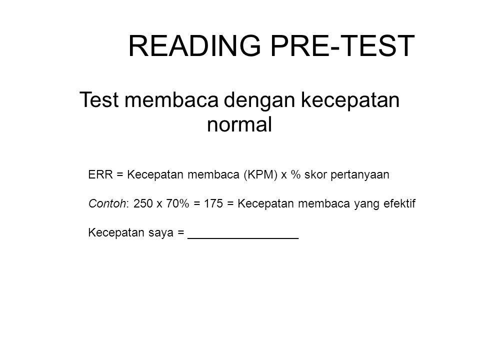 Berapa Kecepatan Membaca Anda.