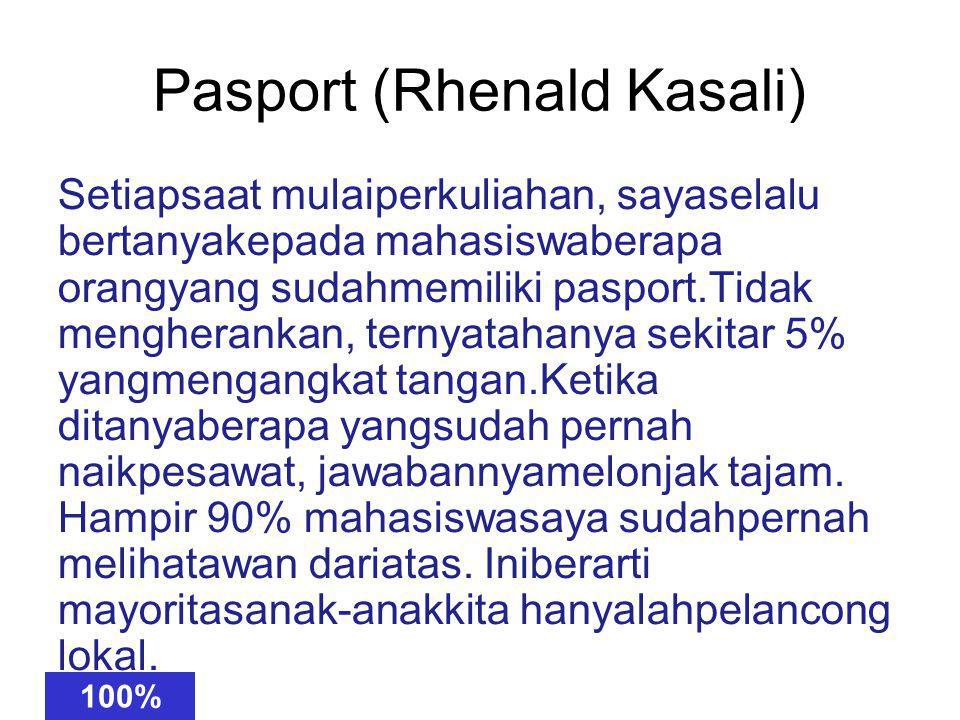 Pasport (Rhenald Kasali) Steiap saat muali perkuilahan, saay sellau rebtanya kedapa mahasiwsa beraap oragn ynag suadh memiilki paspotr.