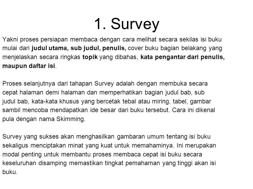 Membaca Secara Terstruktur dan Cerdas Metode SQ3R 1.Survey 2.Question 3.Read 4.Recite 5.Review Nama lain : PQRST (Preview-Question- Read-Summarize-Tes