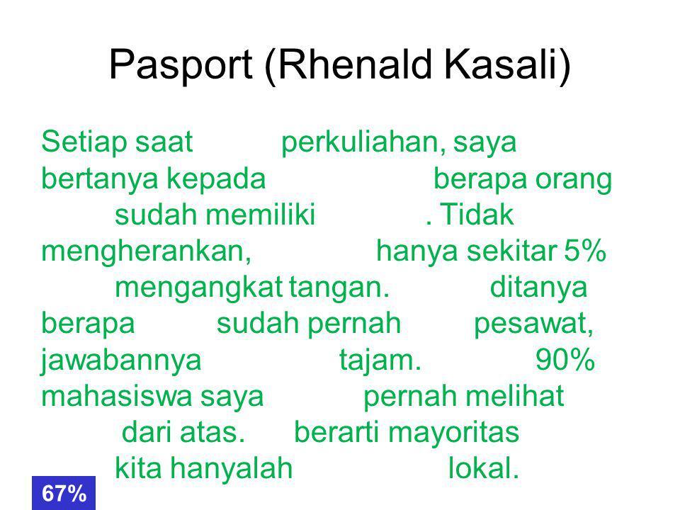 Pasport (Rhenald Kasali) Setiap saat mulai perkuliahan, saya selalu bertanya kepada mahasiswa berapa orang yang sudah memiliki pasport.