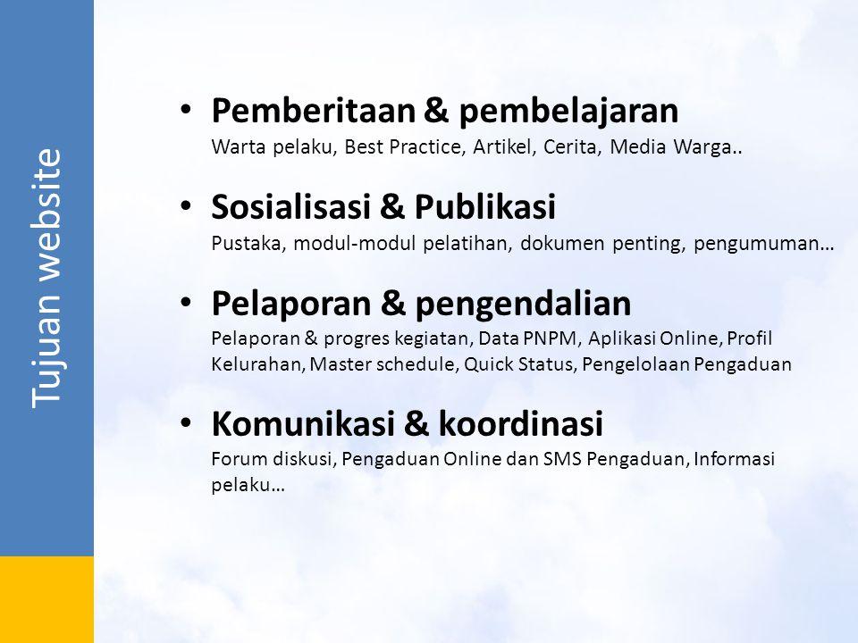 Pemanfaatan Website Gerbang utama informasi PNPM Mandiri Perkotaan Membangun proses belajar antar pelaku dan stakeholder dalam pelaksanaan PNPM Perkotaan melalui warta, forum, best practice Menyediakan dukungan berupa ketersediaan pedoman, Materi, SOP, media, data lapangan, dan dokumen lainnya untuk fasilitasi kegiatan program Memberikan fasilitasi publikasi dan komunikasi kepada para pelaku, Pemda dan pihak-pihak terkait lainnya.