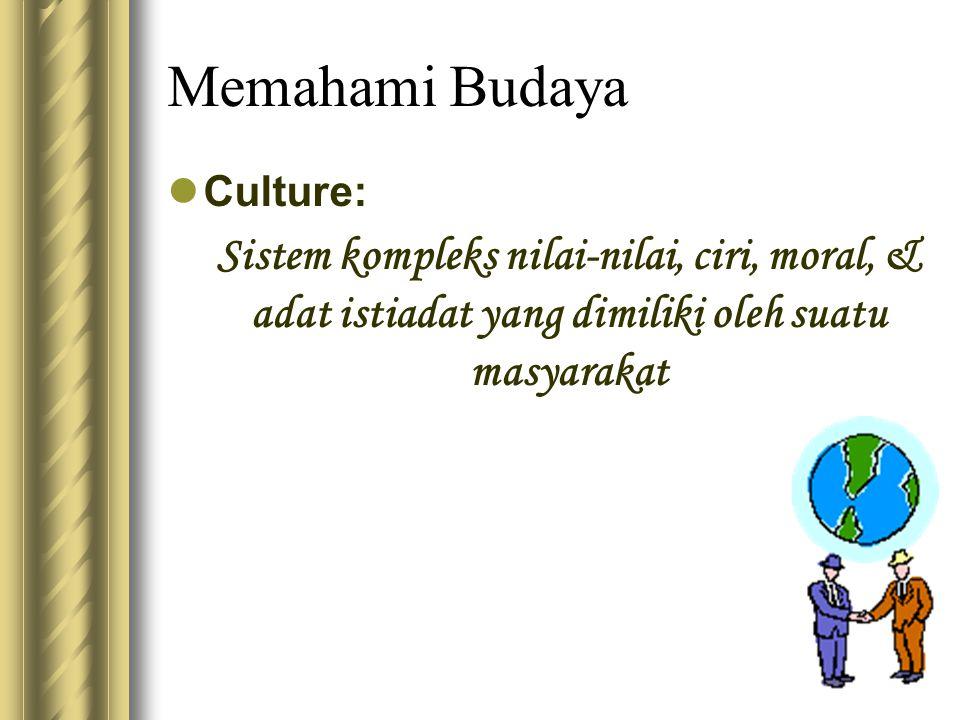Memahami Budaya Culture: Sistem kompleks nilai-nilai, ciri, moral, & adat istiadat yang dimiliki oleh suatu masyarakat