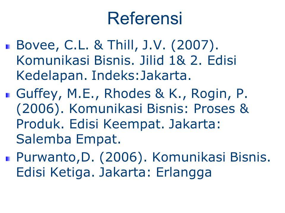 Referensi Bovee, C.L. & Thill, J.V. (2007). Komunikasi Bisnis.
