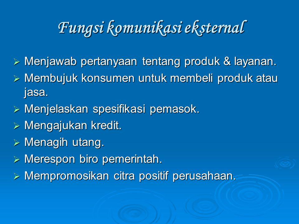 Fungsi komunikasi eksternal  Menjawab pertanyaan tentang produk & layanan.