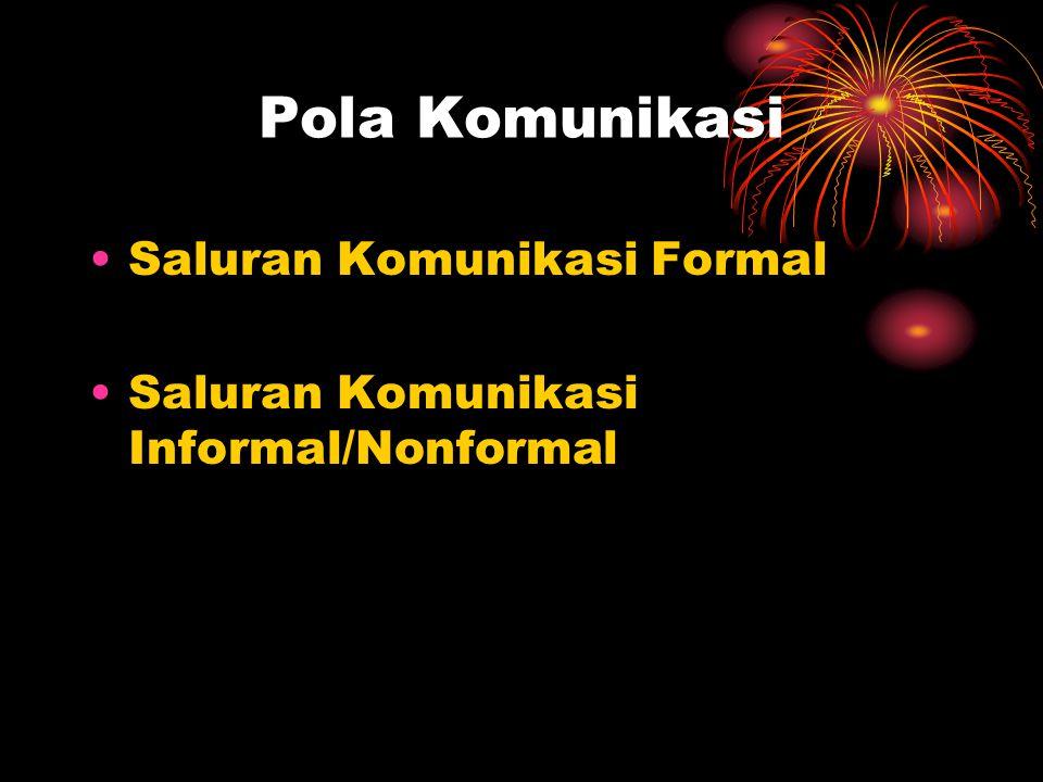 Pola Komunikasi Saluran Komunikasi Formal Saluran Komunikasi Informal/Nonformal