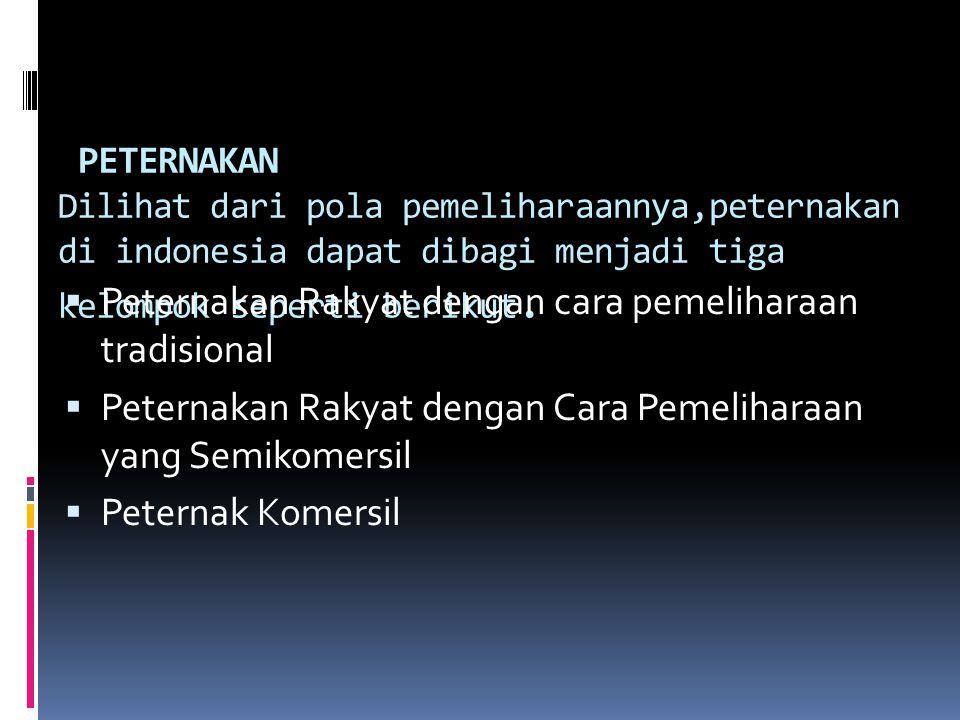 PETERNAKAN Dilihat dari pola pemeliharaannya,peternakan di indonesia dapat dibagi menjadi tiga kelompok seperti berikut.  Peternakan Rakyat dengan ca