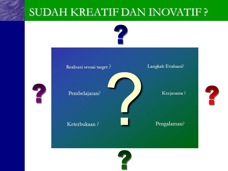 ???? Realisasi sesuai target ? Keterbukaan ? Langkah Evaluasi? Pengalaman? Kerjasama ? Pembelajaran? SUDAH KREATIF DAN INOVATIF ?