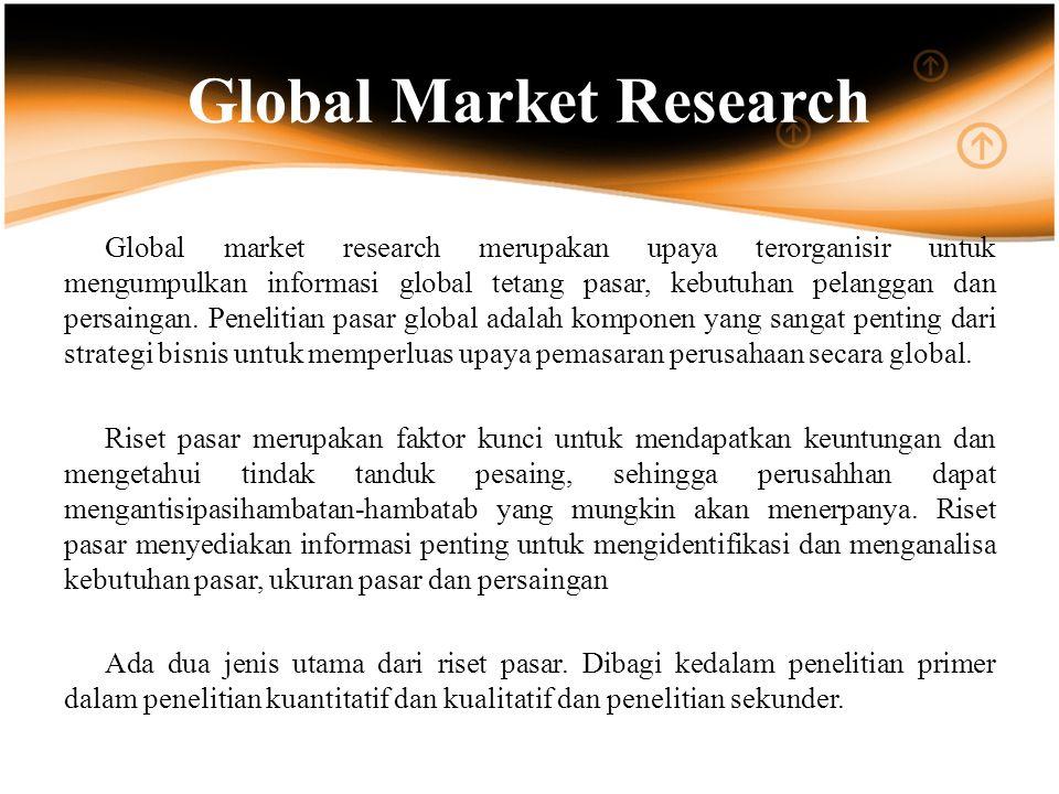 Global Market Research Global market research merupakan upaya terorganisir untuk mengumpulkan informasi global tetang pasar, kebutuhan pelanggan dan persaingan.