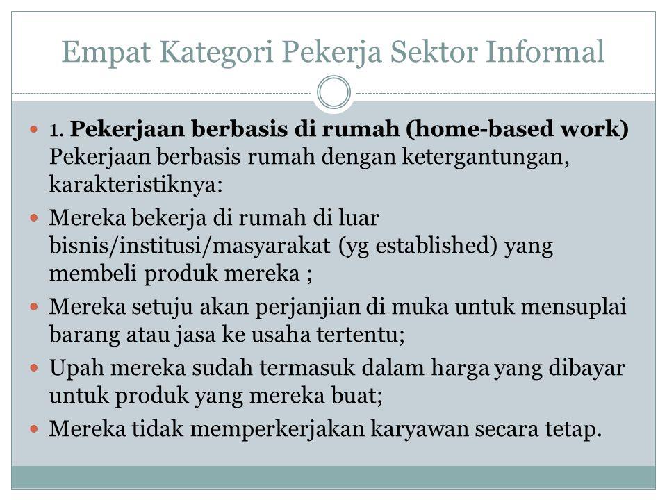 Empat Kategori Pekerja Sektor Informal 1. Pekerjaan berbasis di rumah (home-based work) Pekerjaan berbasis rumah dengan ketergantungan, karakteristikn