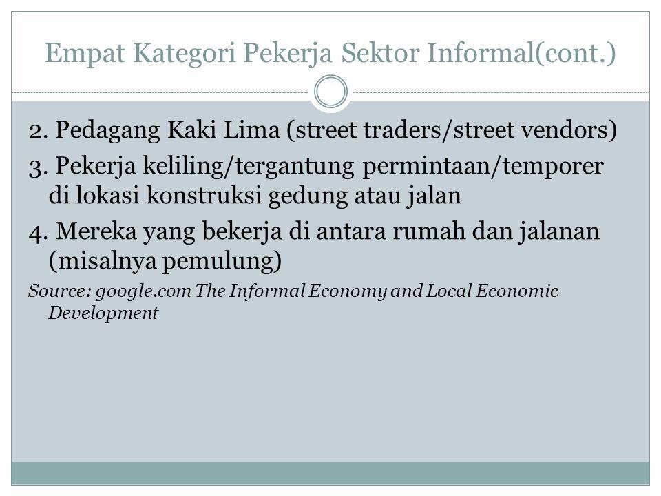 Empat Kategori Pekerja Sektor Informal(cont.) 2. Pedagang Kaki Lima (street traders/street vendors) 3. Pekerja keliling/tergantung permintaan/temporer