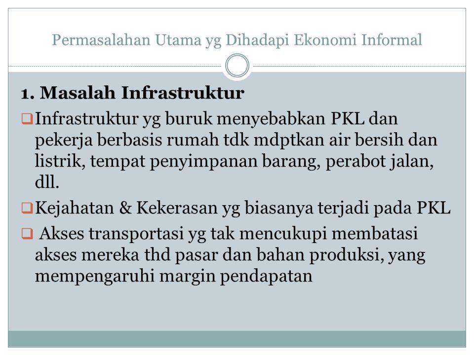 Permasalahan Utama yg Dihadapi Ekonomi Informal 1. Masalah Infrastruktur  Infrastruktur yg buruk menyebabkan PKL dan pekerja berbasis rumah tdk mdptk